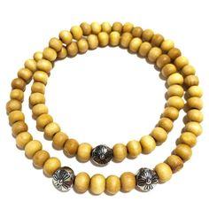 Bracelet Crazydiams The Wood Homme Double Beige Perle Plate