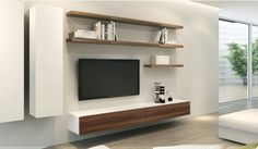 Ikon White + Walnut Floating Entertainment Unit - Delux Deco