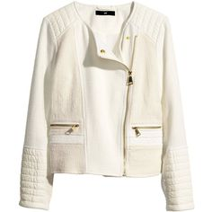 H&M Cotton-blend Biker Jacket $25 ($20) ❤ liked on Polyvore featuring outerwear, jackets, white faux jacket, white biker jackets, h&m jackets, moto jacket and synthetic jacket