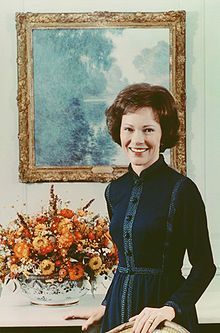 Eleanor Rosalynn Carter(born Eleanor Rosalynn Smith;August 18, 1927)is the wife of the former President of the US Jimmy Carter and in that capacity served as the First Lady of the US from 1977 to 1981.As First Lady and after, she has been a leading advocate for numerous causes,perhaps most prominently for mental health research.She was politically active in her White House years as her husband's closest adviser and sat in on Cabinet and policy meetings.The couple had four children.