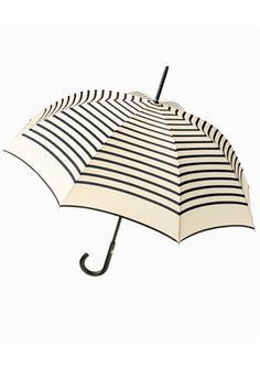 Guy de Jean / striped long umbrella by Jean Paul Gaultier. a lovely way to combat those rainy days. Jean Paul Gaultier, Long Umbrella, Under My Umbrella, White Umbrella, Umbrella Art, Cute Umbrellas, Umbrellas Parasols, Chantal Thomass, Spring Shower