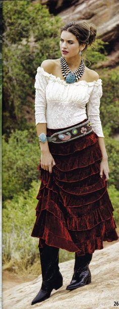 Red velvet ruffled skirt might like that for fall/winter