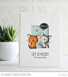 Polka Dot Paper, Polka Dots, Joy Taylor, Hello Life, Mft Stamps, Yarn Ball, Cat Cards, Clear Stamps, Pattern Paper