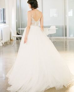 Christos wedding dress with lace back and full skirt from Emma & Grace Bridal Studio || See more at emmaandgracebridal.com