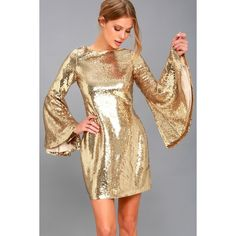 Lulus  Beaming Belle Gold Sequin Bell Sleeve Dress ($82) ❤ liked on Polyvore featuring dresses, gold, beige cocktail dress, long dresses, gold dresses, lulus dress and gold sequined dress