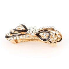 Metal Lady Rhinestone Decor Bowknot Design Hair Clip Gold Tone Black ** You can find more details by visiting the image link.
