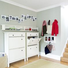 Ikea hemnes shoe cabinet Modern hallway perfect for an entry in a family home! Contemporary Hallway, Modern Hallway, Long Hallway, Ikea Hemnes Shoe Cabinet, Shoe Dresser, Entryway Storage, Shoe Storage, Coat Storage, Ikea Storage