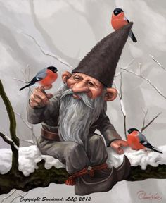 Bullfinches with Garden Gnomes greeting cards.