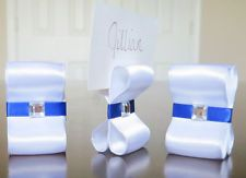 100 Ribbon Place / Escort Card Holders - Wedding Table Settings w/ bling gem
