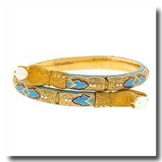 Inv. #16444  Victorian Enamel Bracelet 15k c1860s Italy. Lawrence Jeffrey Estate Jewelers