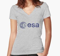 """European Space Agency "" Women's Fitted V-Neck T-Shirts by Lidra 