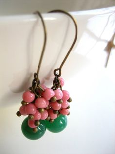 antique bronze and glass bead earrings - lolita. green and pink.