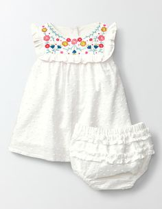 Embroidered Ruffle Dress We've turned up the sweetness factor for this dainty dress. The woven des Baby Outfits, Little Girl Outfits, Little Girl Dresses, Kids Outfits, Kid Dresses, Baby Girl Fashion, Kids Fashion, Curvy Fashion, Fall Fashion