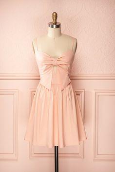 Marnie Bubblegum - Blush sleeveless dress with oversized bow on front