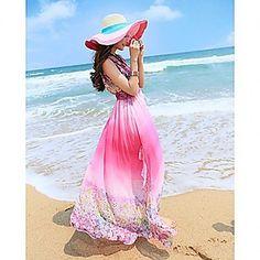 Women's Bohemia Romantic V Neck Sleevless Waist Long Dress – USD $ 29.39