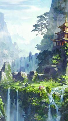HDscreen: Asian architecture artwork fantasy art moss mountains ...