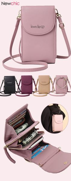 Women Multi-function Solid Ring Phone Bag Shoulder Bag Square Bag Purse is designer, see other cute bags on NewChic. Cute Suitcases, Cute Luggage, Leather Clutch Bags, Cute Bags, Small Shoulder Bag, Cross Body Handbags, Purses And Handbags, Fashion Bags, Crossbody Bag