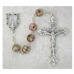 7Mm Pink Real Cloisonne Rosary