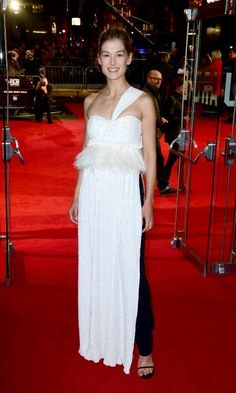 Rosamund Pike wore a long white dress over black pants during the screening of A United Kingdom at the 2016 London Film Festival.