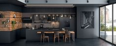 Risultati immagini per mobalpa cuisine Kitchen Models, Black Kitchens, Interior Design Living Room, Cool Furniture, Planer, Home Remodeling, House Design, Home Decor, Images