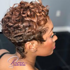 Short Curly Pixie, Short Hair Cuts, Short Hair Styles, Pixie Cuts, Cute Hairstyles For Short Hair, Black Girls Hairstyles, Nothing But Pixies, Hair Color Shades, Cute Shorts