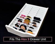 acrylic makeup organizer for ikea alex 56 compartment drawer divider storage blush powder. Black Bedroom Furniture Sets. Home Design Ideas