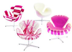pink modern chair Pink Desk Chair, Diy Chair, Pink Chairs, Pink Furniture, Unique Furniture, Swan Chair, Holly Fulton, Cool Chairs, Awesome Chairs