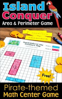 Kids love playing Island Conquer, a free pirate-themed math center game for practicing area and perimeter. Click over to Laura Candler's blog to download this freebie now! #mathgames #areaandperimeter Perimeter Games, Area And Perimeter, Fun Math Activities, Math Games, Teaching Math, Teaching Resources, Homeschooling Resources, Differentiation In The Classroom, Guided Math Groups