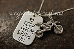 Keep Calm and Ride On Sterling Silver Dirtbike by SayWhatCreations, $54.00