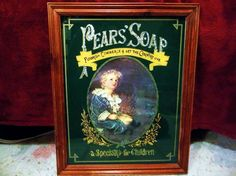 "Vintage ""Pears' Soap"" Print Behind Painted Glass Advertisement Old Wooden Frame #PearsSoap"