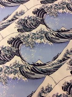 Hokusai Wave Woodcut Heavy Canvas Japanese Tsunami Waves Art Cotton Fabric Quilt Fabric EK05