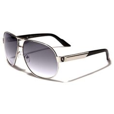 5ea20bbb8d Khan Mens Aviator Polarized Sunglasses Black and Silver with Gray Lenses  and Black Logo