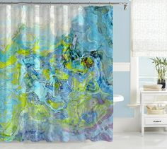 Abstract Shower Curtain Green And Aqua Contemporary Caribbean