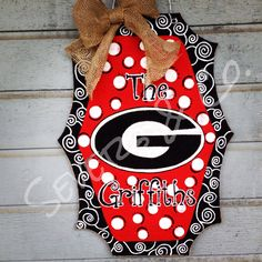 Whimsical UGA Sign burlap door hanger by Severs & Co.  $30+shipping.  Order at www.facebook.com/theburlapgiraffe.