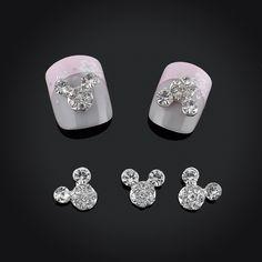 2015 반짝이 전체 드릴 마우스 나일 아트 장식 합금 모조 다이아몬드 3d 네일 보석 매력 손톱 무료 배송
