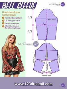 Learn how to transform a basic sleeve pattern into a bell sleeve. Quick and easy! How to transform a normal sleeve: Trace the base pattern Cut and open in half Place it on a paper Adjust…More Fashion Sewing, Diy Fashion, Ideias Fashion, Fashion Outfits, Diy Clothing, Sewing Clothes, Dress Sewing Patterns, Clothing Patterns, Sewing Sleeves