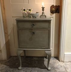 Vintage Grey Hand Painted Pot Cupboard Bedside Table Cabinet Side/End Table Handmade