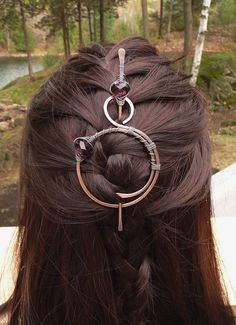 Copper scarf pin shawl wire wraps brooches wine purple hair slide barettes celtic metal jewlery pins large clips for women gift for her Haarspange Stick Kupfer Schal Pin Schal Pin Haarspange Celtic Hair, Celtic Knot, Hair Foils, Hair Slide, Diy Schmuck, Hair Sticks, Hair Accessories For Women, Hair Ornaments, Wraps