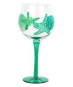Another great find on #zulily! Green Starfish & Shell Wine Glass by DEI #zulilyfinds