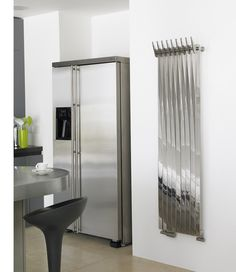 The Aeon Clipper vertical designer radiator is finished in a bi finish (both polished and brushed stainless steel). Dual fuel option available. Prices from inclusive of VAT and delivery. Home Radiators, Bathroom Radiators, Stainless Steel Radiators, Brushed Stainless Steel, Towel Hooks, Towel Rail, Towel Radiator, Designer Radiator, Types Of Rooms
