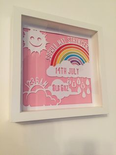 Baby girl rainbow birth announcement papercut - Wallace Imagery