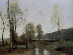 Jean-Baptiste-Camille Corot - Canal in Picardy, 1865-71, oil on canvas, 46.7 x 61.6 cm
