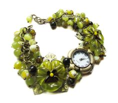 Women quartz  lampwork wrist watch 'Olive grove' with handmade lampwork beads ''pansies'' made by Inna Kirkevich