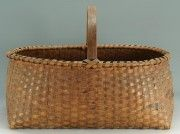 """Large 19th Century East TN Oak Basket  splint oak basket with rich dark brown patina. This basket was pictured on page 180 in the book"""" Appalachian Baskets"""" by John Rice Irwin. 14"""" H x 21 1/2"""" W x 14"""" D. Provenance: Formerly in the collection of John and Nancy Walton, Knoxville, Tennessee....~♥~"""