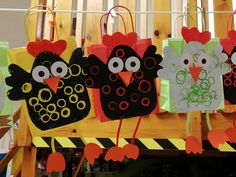 Cute Kids Crafts, Crafts For Kids To Make, Easter Crafts For Kids, Preschool Crafts, Bird Crafts, Animal Crafts, Rooster Craft, Homemade Gift Bags, Easy Art Projects