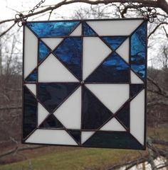 Stained Glass Quilt Block Suncatcher Panel  New Hampshire Quilt Block  Blue. $40.00, via Etsy.