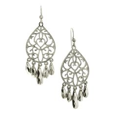 """Charm them all with these vintage inspired chandelier earrings! A silver tone teardrop design is stamped with a romantic filigree pattern and given a matte finish. To add contrast, five briolette cut metallic silver beads dangle from the bottom and keep the eye dancing. Measuring 2 1/2"""" long, these chandelier earrings are a bold style in a classic color, so every type of fashionista can get in on this hot look!"""