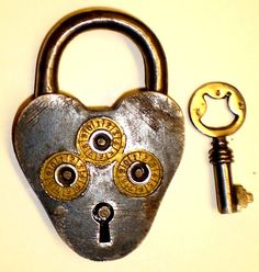 Antique Brass Working Lock Padlock Arabic In Script