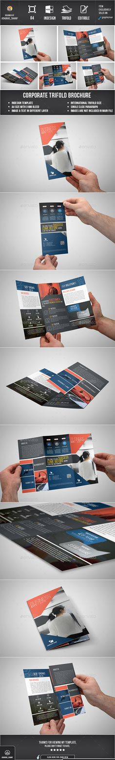 Trifold Brochure - Corporate Brochures This is Corporate Trifold Brochure Template.This template are A4 page which 297×210 mm in size, Suitable for Corporate Business Agency or Company. Any one can modify if use multipurpose print template, Its super easy to modify. This template download contains 4 color, which is 300 dpi print-ready CMYK color. 1 indesign, 1 IDML file. All main elements are easily editable and customizable.