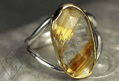 Rutilated Quartz Statement Ring - 18k Gold and Silver Ring - Gemstone Cocktail Ring - Ready to Ship in size 8.5